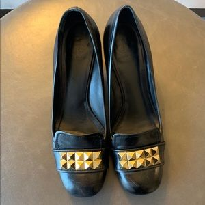 Tory Burch Gold Studded Low Loafer Pumps
